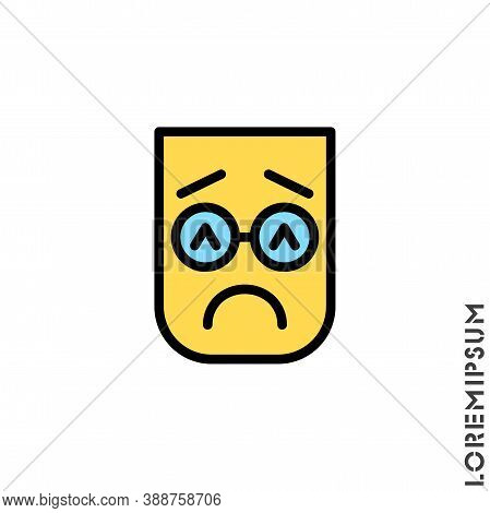 Sad And In Bad Mood Color Emoticon Icon Vector Illustration. Style. Depressed, Sad, Stressed Emoji I