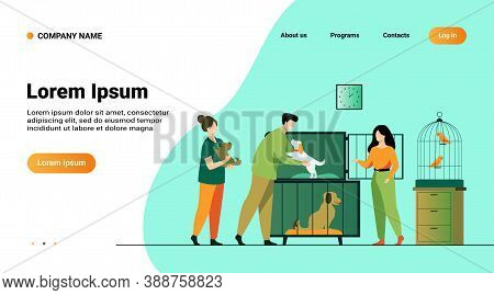 Pet Store Or Animal Shelter Concept. Man Taking Puppy From Cage, Buying Or Adopting Dog. Volunteers