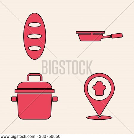 Set Chef Hat With Location, Bread Loaf, Frying Pan And Cooking Pot Icon. Vector