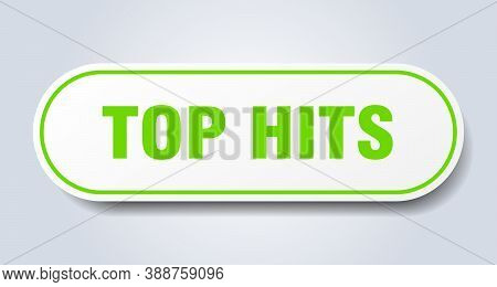 Top Hits Sign. Rounded Isolated Button. White Sticker