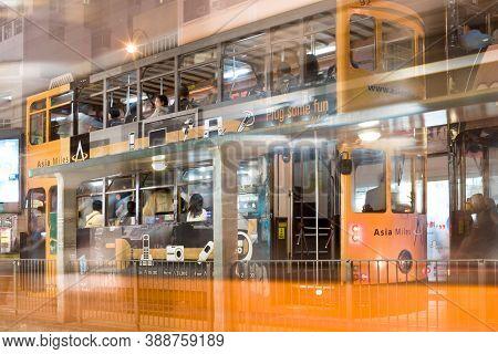 Hong Kong, China - December 06, 2008: Tram Stop At King's Road In Pak Kok (north Point)