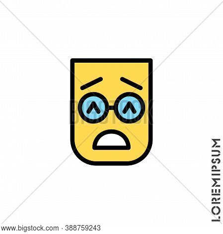 Sad Give Up Tired Color Emoticon Icon Vector Illustration. Style. Very Sad Cry Stressful Emoticon Ic