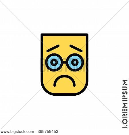 Sad Bad Color Mood Feel Sorry Regret Emoticon Icon Vector Illustration. Style.