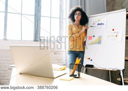 Smart African American Woman Conducts Online Webinar, A Female Coach Is Explains Something On The Fl