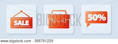 Set Briefcase, Hanging Sign With Sale And Fifty Discount Percent Tag. White Square Button. Vector