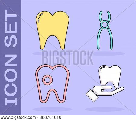 Set Tooth, Tooth, Tooth With Caries And Dental Pliers Icon. Vector