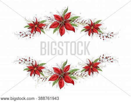 Flower Frame, Banner Under The Text. Winter Symbols: Holly And Poinsettia Isolated On A White Backgr