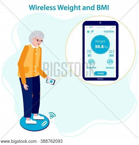 Elderly Female Patient Measuring Her Weight And Bmi On A Wireless Weighing Machine That Syncs With T