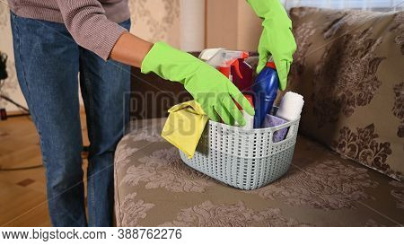 Housemaid Took Supplies For Cleaning The Room