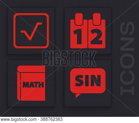 Set Mathematics Function Sine, Square Root, Calendar And Book With Word Mathematics Icon. Vector