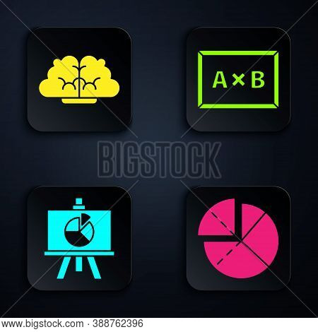 Set Graph, Schedule, Chart, Diagram, Human Brain, Chalkboard With Diagram And Chalkboard. Black Squa