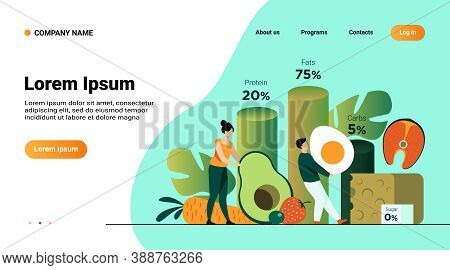 Tiny People Choosing Food For Ketogenic Diet Isolated Flat Vector Illustration. Cartoon Character Fa