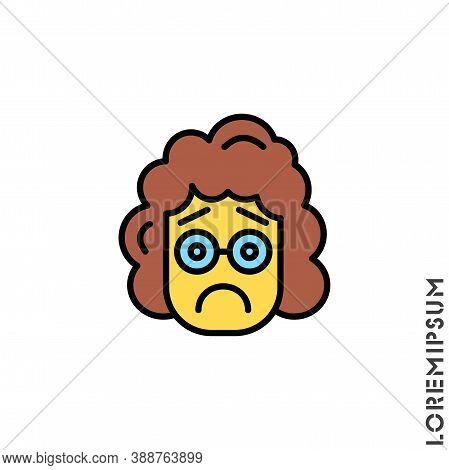 Sad Bad Yellow Mood Feel Sorry Regret Emoticon Girl, Woman Icon Vector Illustration. Style.