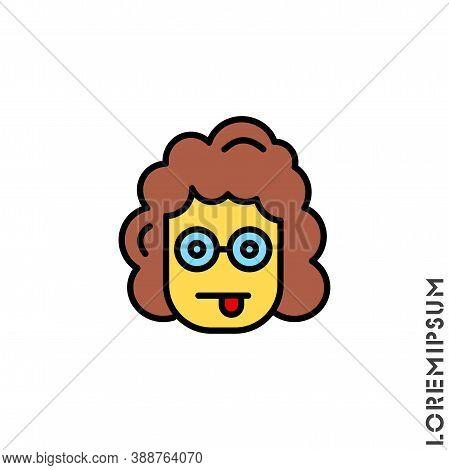 Mocking Funny Humor Emoticon Yellow Girl, Woman Icon Vector Illustration. Style.