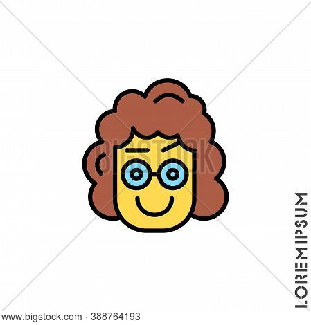 Big Smile Contented Smile With Raised Eyebrow Yellow Emoticon Girl, Woman Icon Vector Illustration.