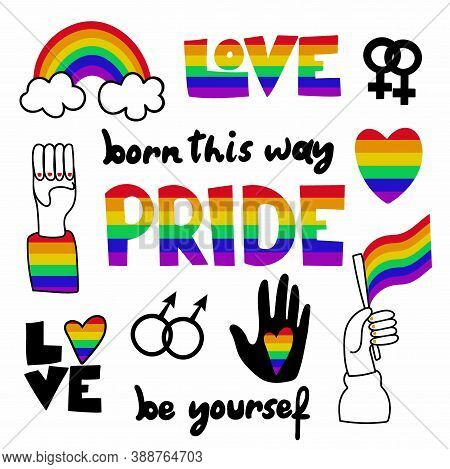 Pride Doodle Stickers Set. Born This Way, Be Yourself, Love Lettering Text, Rainbow Heart, Flag With