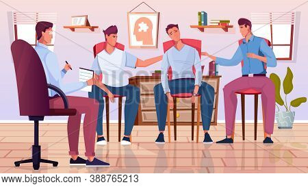 Group Psychoterapy Flat Composition With Therapists Office Scenery And Doodle Characters Of Male Cli
