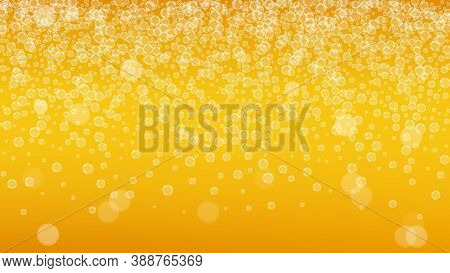 Oktoberfest Background. Beer Foam. Craft Lager Splash. Fresh Pint Of Ale With Realistic White Bubble