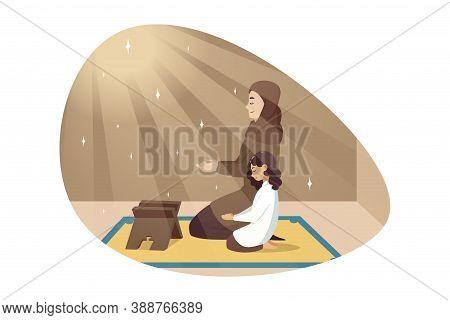 Religion, Islam, Leisure, God, Allah, Motherhood, Childhood Concept. Young Muslim Woman With Hijab P