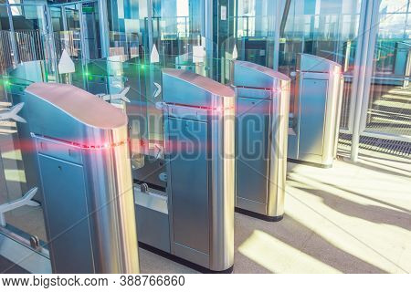 Transport Turnstile, Entrance And Exit. Red Light No Access