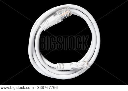 Internet Data Cable Isolated On Black Background. Internet Communication Concept. Network Internet C