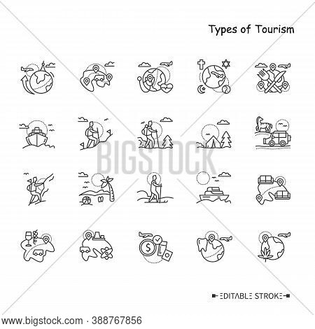 Types Of Rest And Tourism Line Icons Set. Different Ways, Places, And Purposes For Travel. Adventure