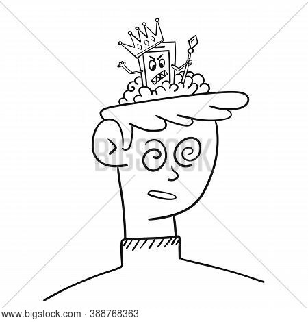 Man Is Controlled By Artificial Intelligence, Vector Illustration. The Guy Has An Artificial Intelle