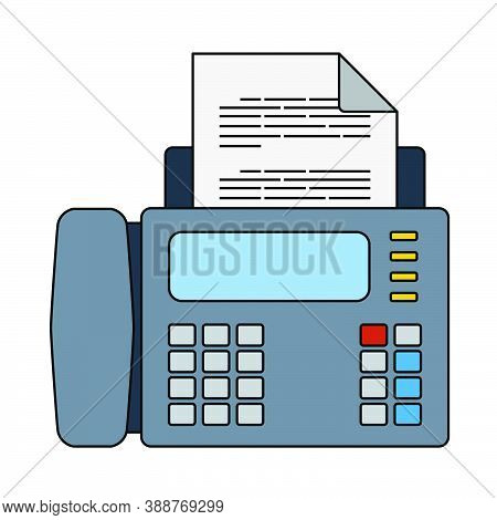 Fax Icon. Editable Outline With Color Fill Design. Vector Illustration.