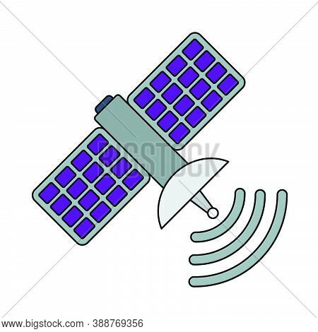 Satellite Icon. Editable Outline With Color Fill Design. Vector Illustration.