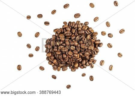 Coffee Beans Isolated On White Background. Close Up Coffee Beans Isolated Over White With Clipping P