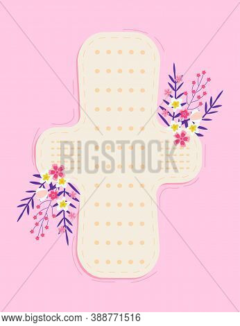 Menstrual Health Cycle Concept Vector In Flat Style. Menstrual Cup And Hygiene Pad With Tropical Flo