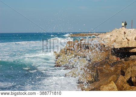 Surf, Seashore, Waves Spray Foam Rocks Blue Water