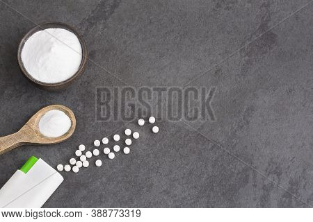 Natural Sweetener In Powder From Stevia Plant - Stevia Rebaudiana. Healthy Food