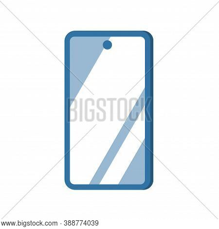 Smartphone With A Glossy Screen. Glare On The Glass. Vector Isolated Illustration With White Backgro