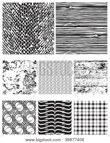Eight seamless vector patterns for backgrounds, fills and overlays.