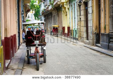 HAVANA-OCTOBER 29:Street in the old part of the city October 29,2012 in Havana.With its distinct atmosphere,Havana is the destination of more than 1 million tourists who visit the city every year