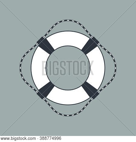 Lifebuoy Graphic Icon. Ship Lifebuoy Sign Isolated On Gray Background. Symbol Salvations. Vector Ill