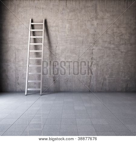 Blank dirty grunge wall with ladder