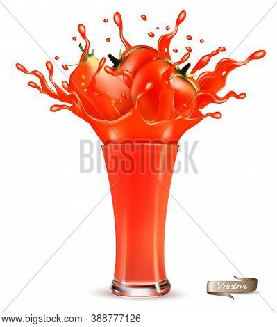 Red Tomato Juice Splash. Whole And Sliced Tomato In A Red Juice With Splashes And Drops Isolated On