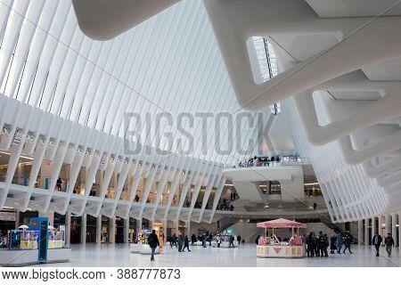 New York City, USA, February 2020: World Trade Center station (PATH), a new transit hub called Oculus, designed by Santiago Calatrava.