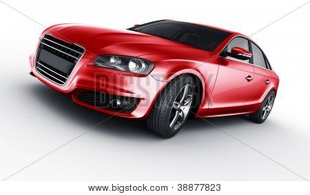 3d rendering of a brandless generic red car of my own design in studio environemnt
