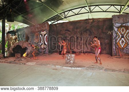 Cairns, Queensland, Australia - 05 Jan 2019: The Village Of The Aborigines Of Australia, Cairns