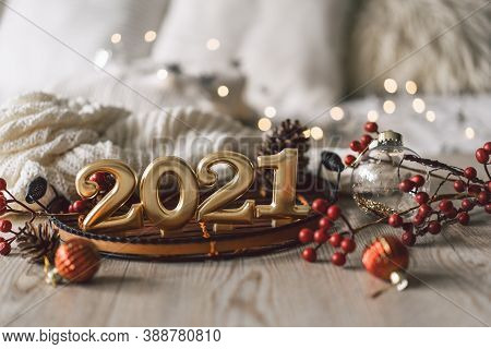 Happy New Years 2021. Christmas Background With Fir Tree, Cones And Christmas Decorations. Christmas