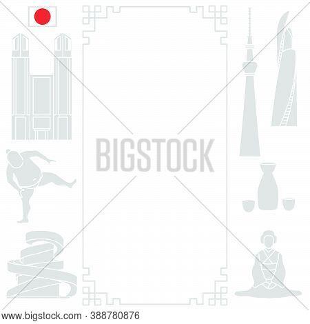 Vector Illustration Symbols Of Japanese Culture Asian Woman In Kimono, Sumo Athlete, Sake Set, Unusu