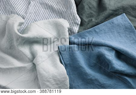 Heap Of Different Linen Fabric Textile Group White, Blue And Gray Colors. Linen Or Cotton Material B