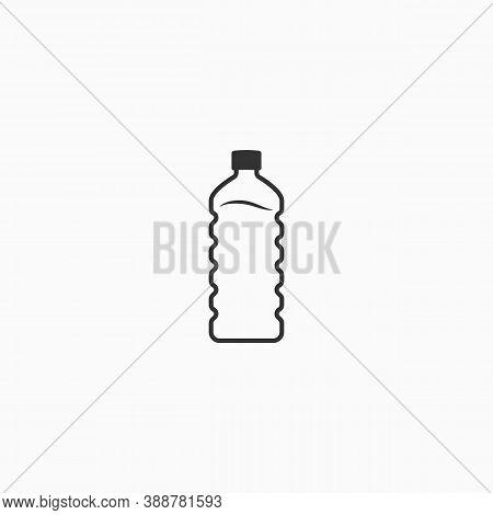 Bottle Of Water Line Icon. Embossed Bottle. Flat Design