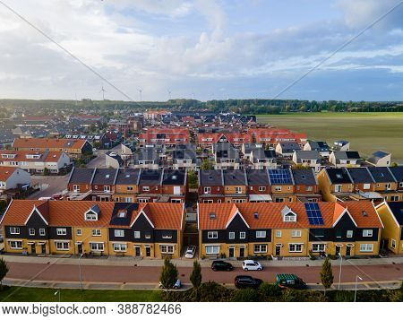 Top View Of House Village From Drone Capture In The Air House Is Brown Roof Top Urk Netherlands Flev