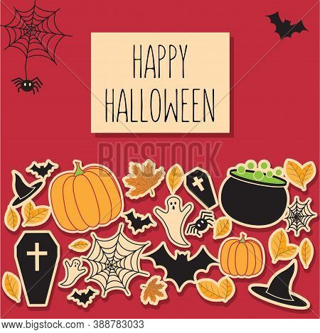 Happy Halloween Vector Illustration For Card/invitation/poster/banner/ad/label For Halloween Product