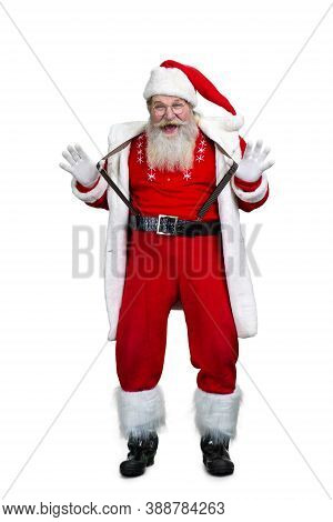 Funny Santa Claus On White Background. Happy Christmas Santa Claus Isolated On White Background, Ful