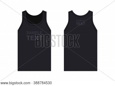 Men's Black Tank Top. Men's Sleeveless Tank Top In Front And Back Views. Isolated On White Backgroun